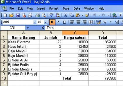 Contoh Microsoft Excel icon dan contoh lembar kerja perangkat lunak pengolah angka atikamaharani