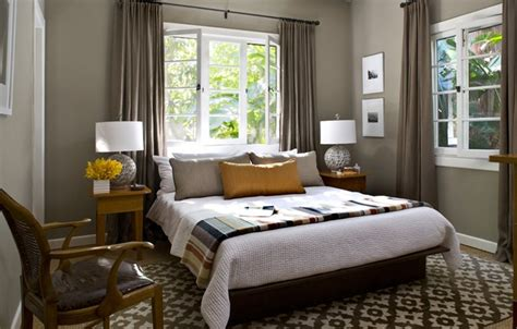 yellow grey brown bedroom bedroom with grey walls with white trim taupe curtains