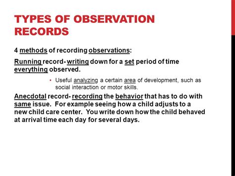 Types Of Records Observing Children Ppt