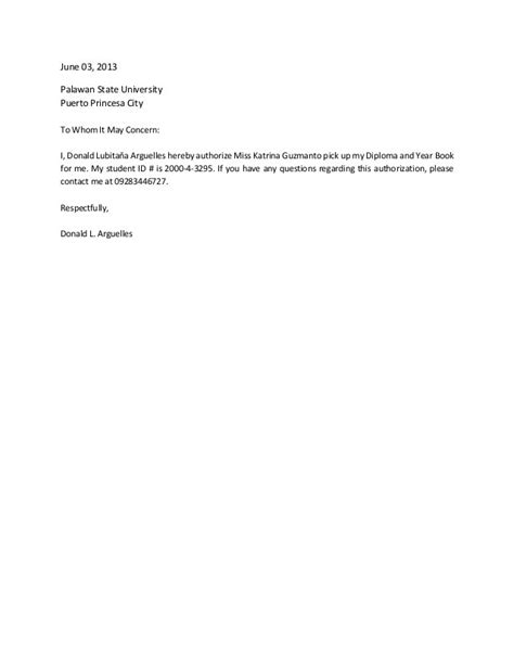 Authorization Letter To Claim Salary sle of authorization letter to claim package