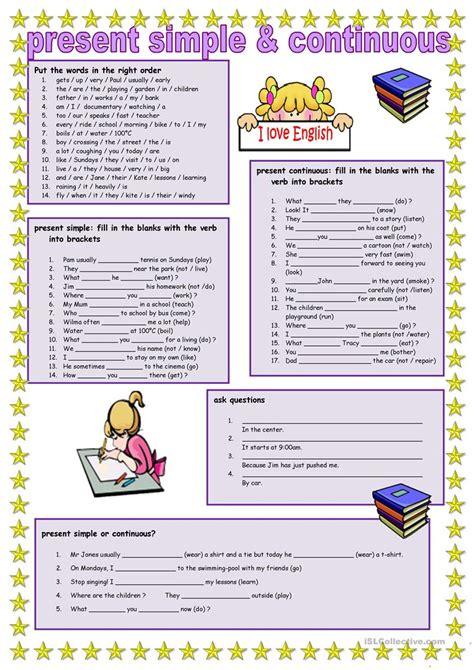 printable worksheets present simple and continuous present simple and continuous worksheet free esl