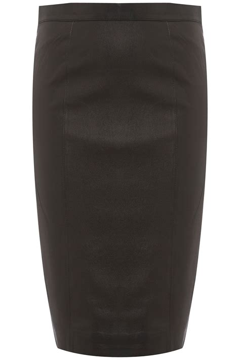 topshop leather pencil skirt in black lyst