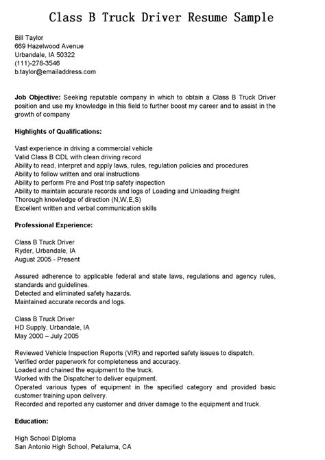 Resume Objective Sles For Truck Drivers Driver Resumes Class B Truck Driver Resume Sle
