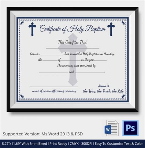 christian baptism certificate template sle baptism certificate 19 documents in pdf word psd