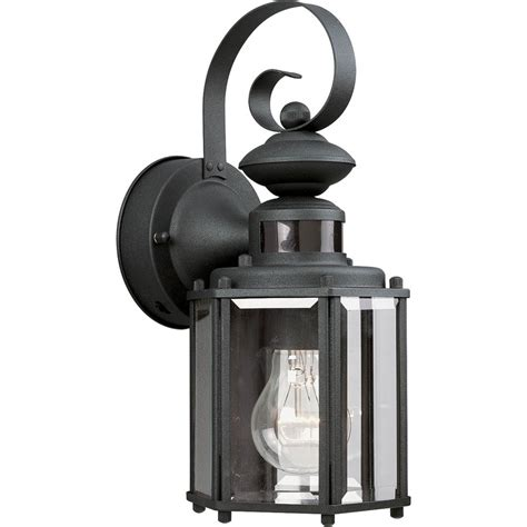 Motion Activated Light Outdoor Shop Progress Lighting Motion Sensor 13 In H Black Motion Activated Outdoor Wall Light At Lowes