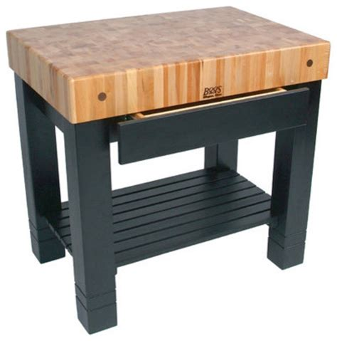 american heritage homestead prep table with butcher block