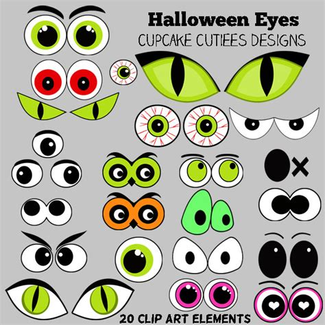 printable ghost eyes cupcake cutiees clip art elements new releases