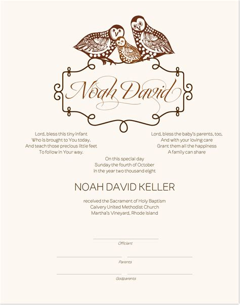baby christening certificate template baptism certificate owl family baby certificate