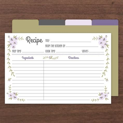 printable recipe index card dividers printable recipe cards pdf instant download templates