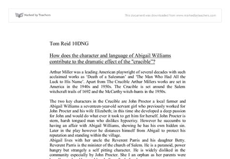 Abigail Essay by The Crucible Character Essay Abigail Williams Writingblock X Fc2
