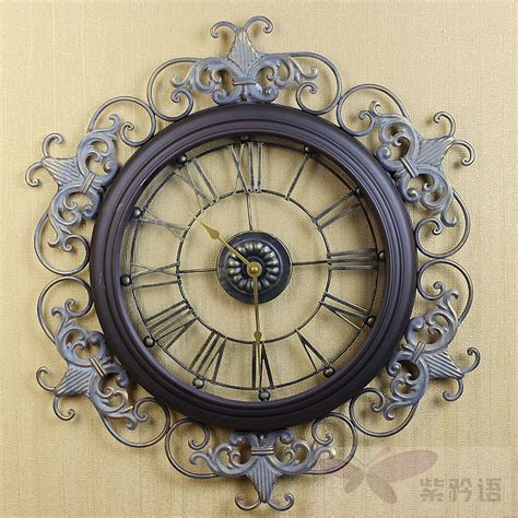 fashion tieyi large wall clock retro antique finishing