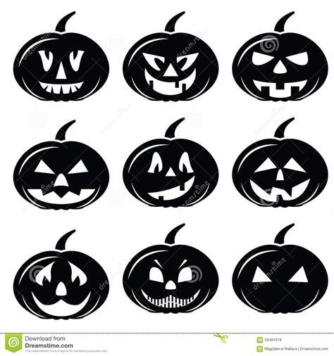 imagenes en blanco y negro de halloween los iconos asustadizos de los caracteres de las calabazas