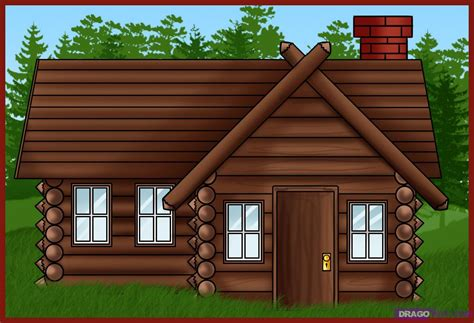 cabin drawings how to draw a log cabin house step by step buildings