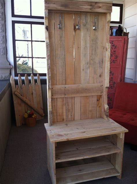 boot bench with coat rack coat rack bench pallets yep we did this out of