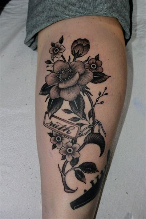Black Flowers As Calf Tattoo Design Black And White Flower Tattoos For 2