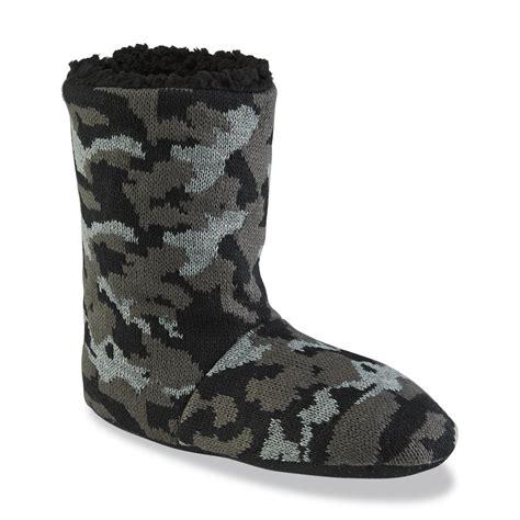 camo boot slippers joe boxer s camouflage black gray boot slipper