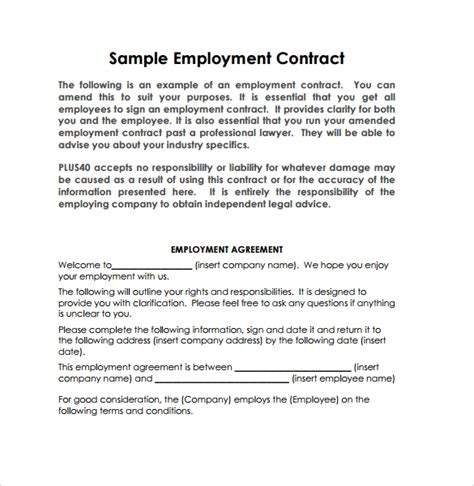 sample employment contract templates   sample templates