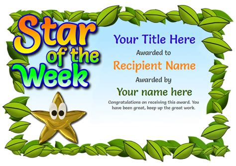 of the week certificate template free certificate templates simple to use add printable