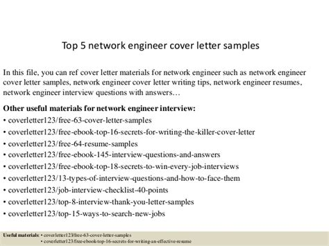 top 5 network engineer cover letter sles
