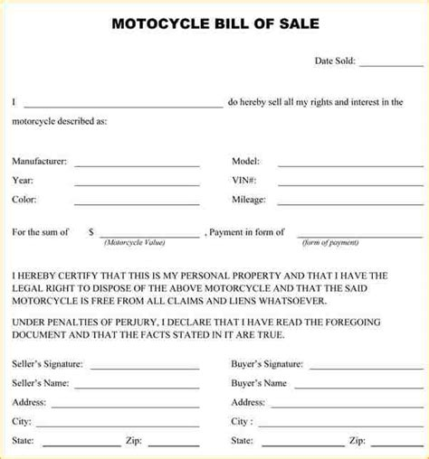 motorcycle sale contract template 10 bill of sale for motorcycle academic resume template