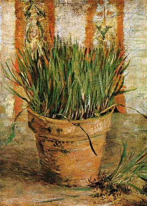 vaso di fiori gogh vaso di fiori con erbe cipollina olio su tela di vincent