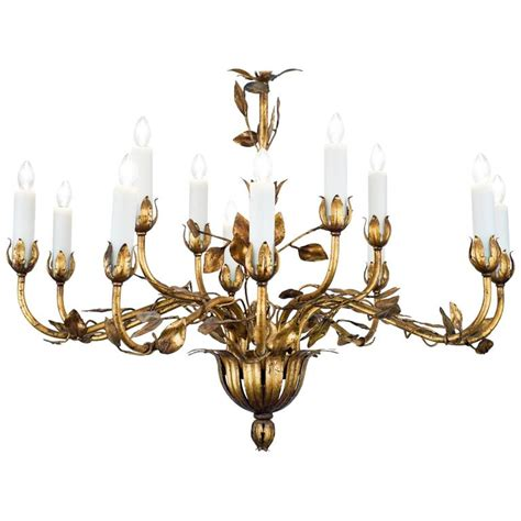 Leaf Chandelier Gold Leaf Tole Chandelier For Sale At 1stdibs