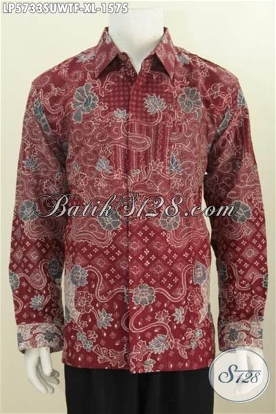 Hem Baju Lengan Panjang Cowo Cowok Batik Merah Maroon Murah Distro hem batik lengan panjang premium pakaian batik halus warna merah motif bagus berbahan