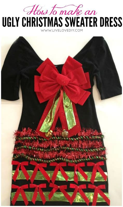 how to make an ugly christmas sweater dress using a plain