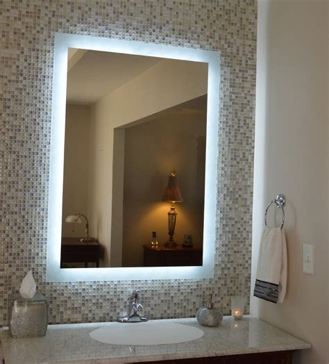 Bathroom Mirrors With Lights In Them Mirror Design Ideas Mounted Lighted Bathroom Mirror Home Kitchen Cabinet Decorations