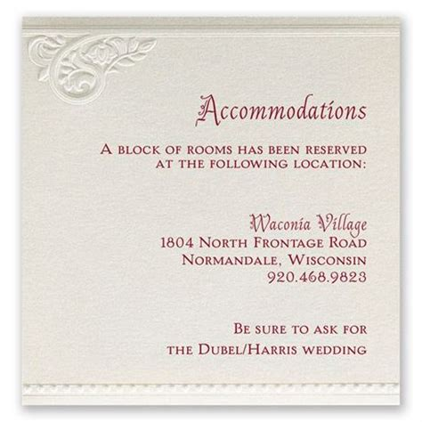 what to put on wedding accommodation cards pearls and lace accommodations card invitations by