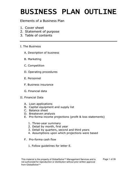 Free Basic Business Plan Template Free Business Template Basic Business Template
