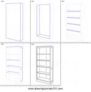 how to draw a book shelf printable step by step drawing
