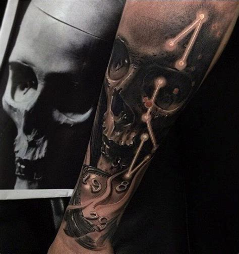 skull old clock tattoo for men artistic awesomeness