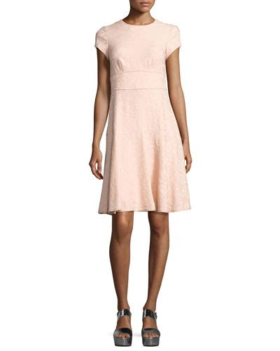 Nanette Lepores Nautical Collection Hits My Wardrobecom by Nanette Lepore Cap Sleeve Paisley Jacquard Dress Pink