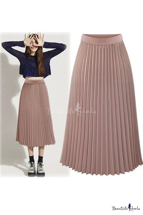 new fashion high waist chiffon plain maxi pleated skirt beautifulhalo