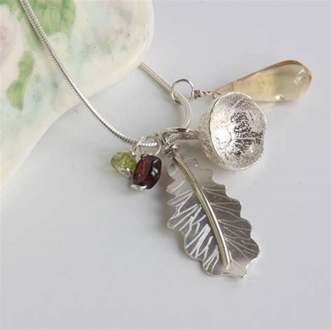 Handmade Silver Necklaces Uk - handmade silver oak leaf and acorn necklace by caroline