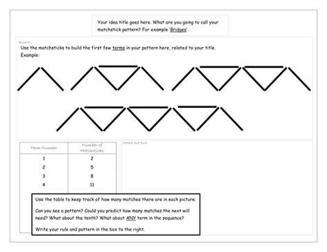 matchstick patterns worksheet tes matchstick patterns by mrslack maths teaching resources