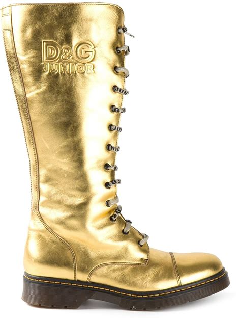 d g boots for dolce gabbana d g junior boots in metallic lyst