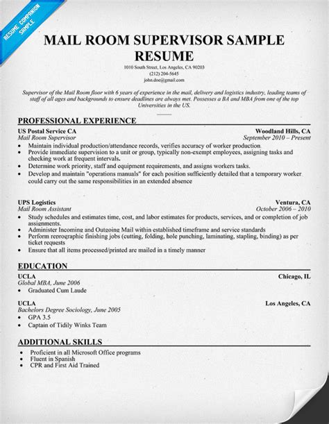mail clerk resume cover letter mailroom clerk