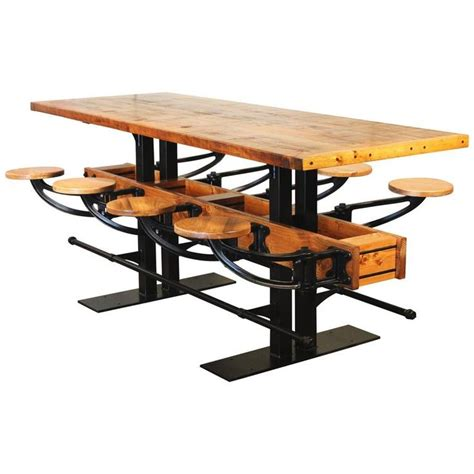 pub table with bench seat swing out seat bar table vintage industrial wood and steel