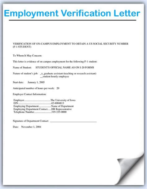 letter of employment verification employment verification letter sle template business