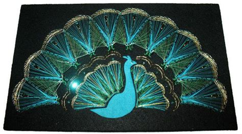 String Peacock Pattern - peacock string picture wall hanging vintage string
