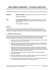 agreement between employer and employee template employment agreement for technical employee template