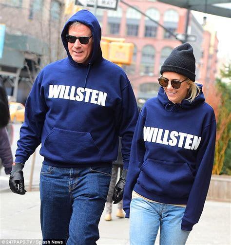 will ferrell kristen wiig snl will ferrell and kristen wiig don matching hoodies in nyc