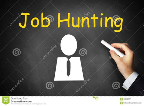 job hunting hand writing job hunting on black chalkboard stock image