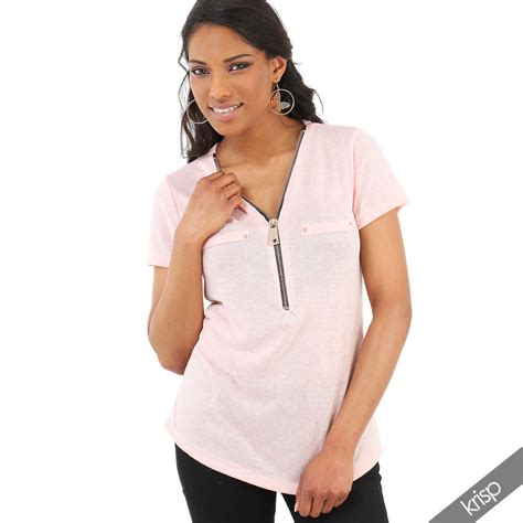 New Knit Cut Blouse Thin Knit Zipped Cut V Neck Fit Light Top