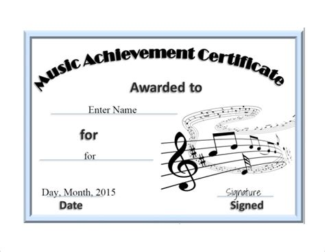 pin music achievement award printable certificate on pinterest