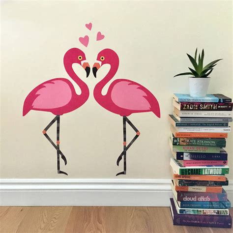 flamingo wall stickers flamingo with hearts wall sticker set by chameleon wall notonthehighstreet