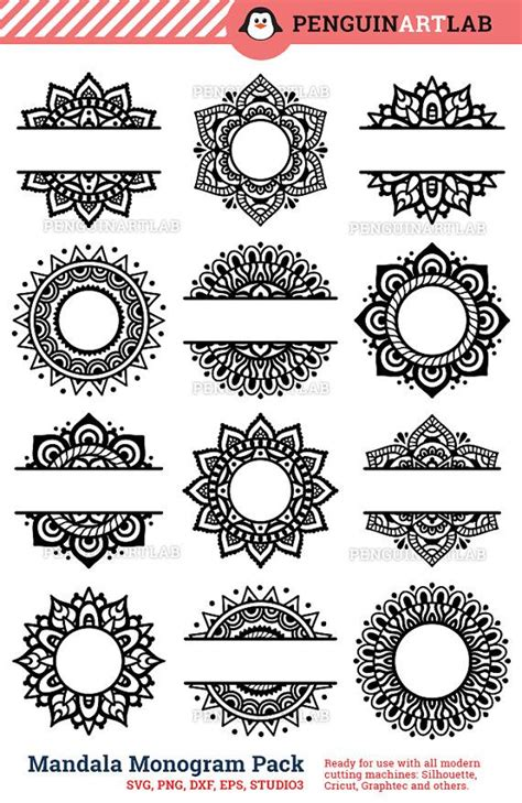 mandala garden design initial layout mandala pack monogram and split svg cut files for