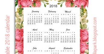 Calendar 2018 Year Printable Free Printable 2018 Calendar Quot Roses Quot Year At A Glance